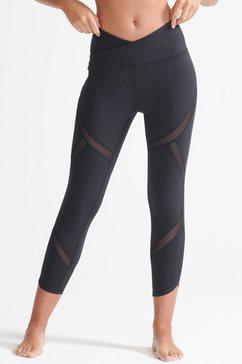superdry sport functionele tights flex mesh leggings-ws31 met mesh-inzetten zwart