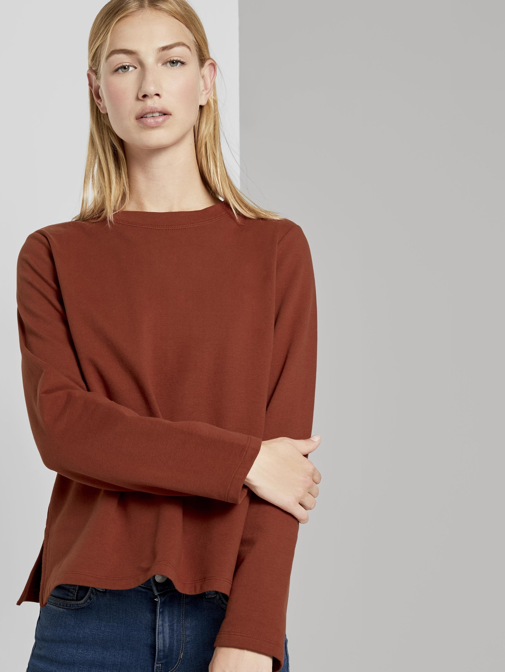 TOM TAILOR Denim sweatshirt »Sweatshirt mit Seitenschlitzen« veilig op otto.nl kopen
