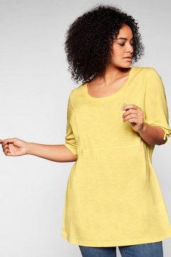 sheego lang shirt in a-lijn met sierstrik aan de mouwen geel