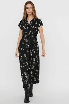 vero moda midi-jurk vmfallie met vastgezette bindstrik zwart