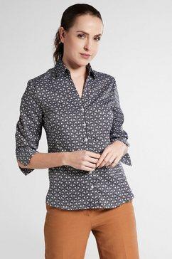 eterna satijnen blouse modern classic blouse met driekwartmouwen zwart
