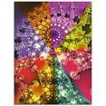 artland print op glas energiebloem (energy flower) (1 stuk) multicolor