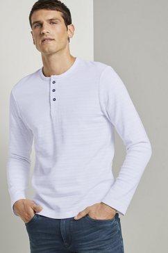 tom tailor shirt met lange mouwen »henleyshirt mit ripp-struktur« wit