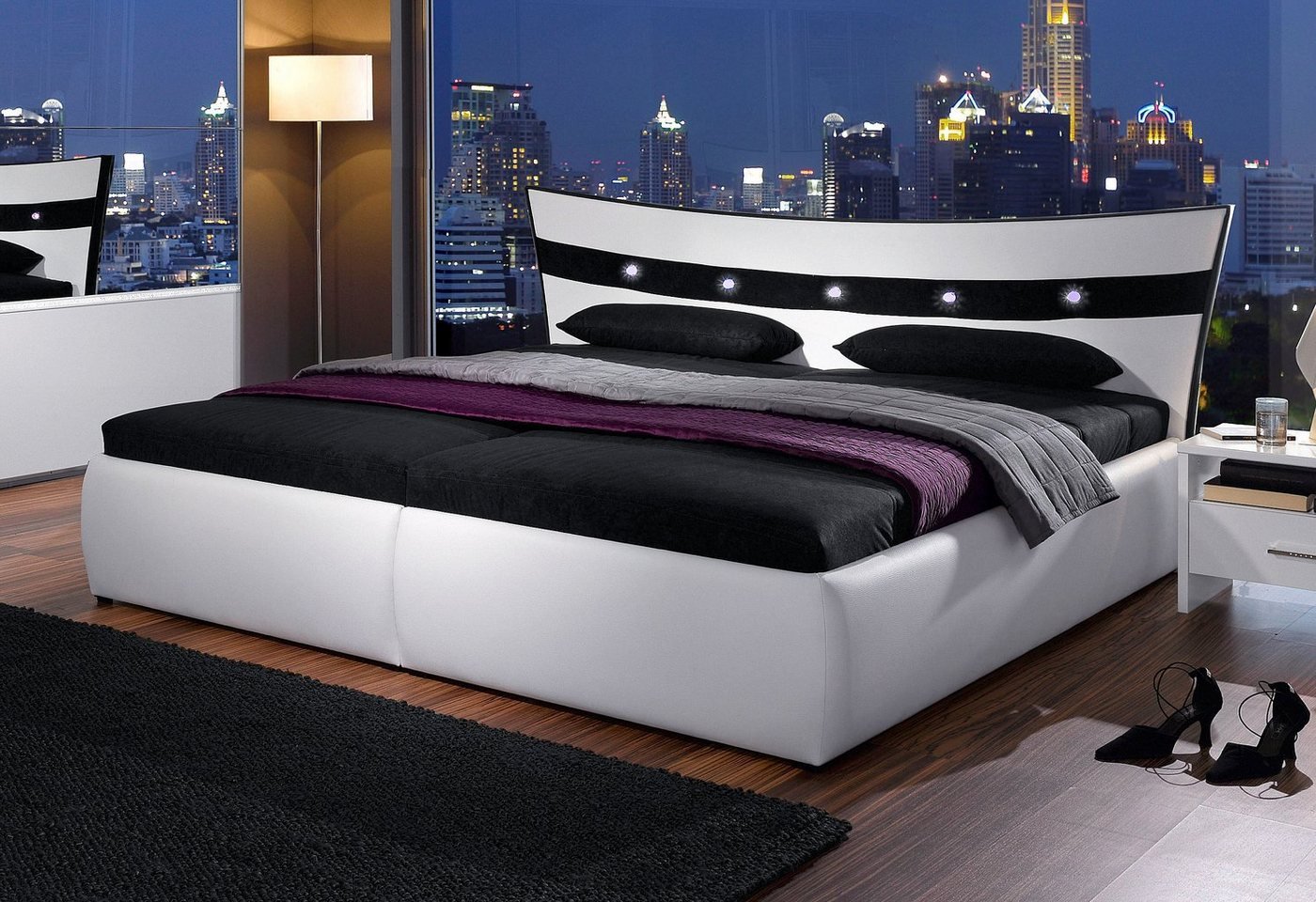 Bed, micro-velours, in 4 verschillende uitvoeringen