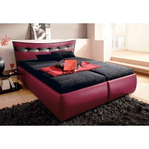 Bed micro velours in 4 verschillende uitvoeringen Bonell binnenveringsmatras rood Hapo 305805