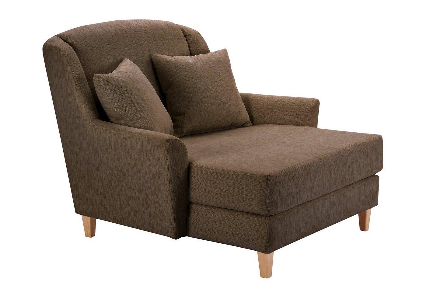 MAX WINZER® XXL-fauteuil Julia, structuur, met naturelkleurige houten poten