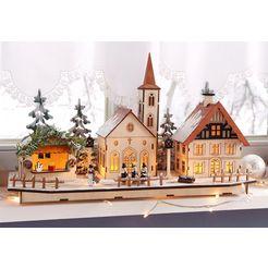 home affaire kerstdorp houten beige