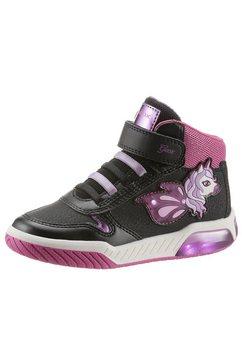 geox kids sneakers j inek girl schoen met knipperlichtje met klittenbandsluiting zwart