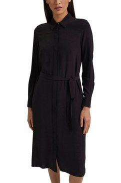 esprit collection jurk met overhemdkraag met blousekraag (set, 2-delig, met een afneembare riem) zwart