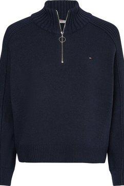 tommy hilfiger trui met staande kraag zip-up high-nk swt ls in schippersmodel met ritssluiting blauw