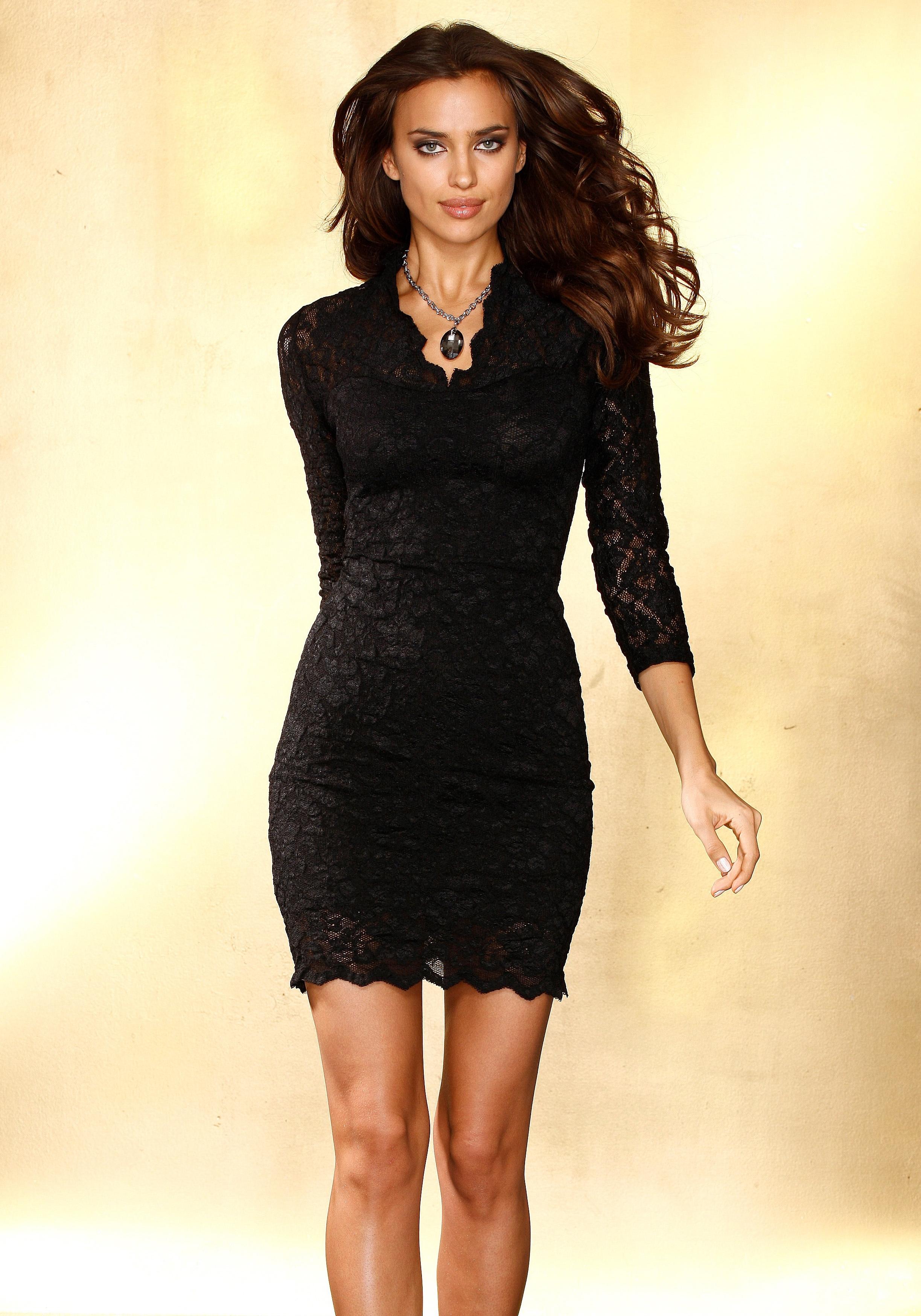 88043410ccc5d2 LAURA SCOTT Kanten jurk met diepe V-hals online bestellen