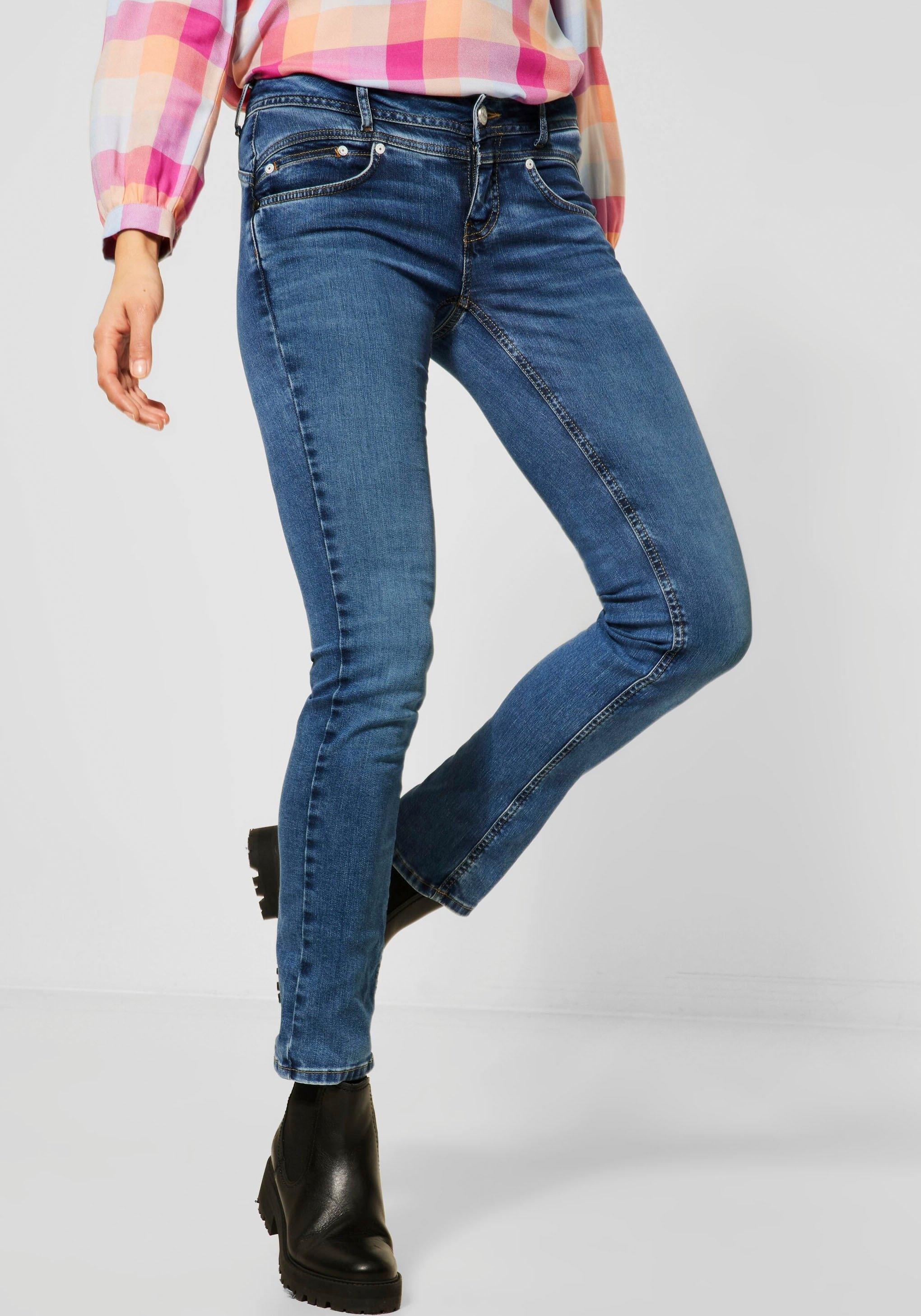 STREET ONE bootcut jeans Iowa met flatteus nadenpatroon nu online kopen bij OTTO