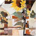 artland artprint zonnebloemen in vele afmetingen  productsoorten -artprint op linnen, poster, muursticker - wandfolie ook geschikt voor de badkamer (1 stuk) geel