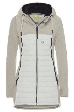 alife and kickin outdoorjack charliak warme lange jas in fleece-downlook-stijl, materialenmix wit