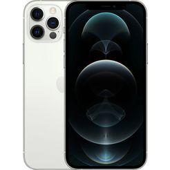 apple smartphone iphone 12 pro, 128 gb, zonder stroom-adapter en hoofdtelefoon, compatibel met airpods, airpods pro, earpods hoofdtelefoon zilver
