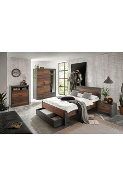 home affaire slaapkamerserie »brooklyn« (set, eenpersoonsbed met houten hoofdeinde, nachtkastje, kleerkast 3 deuren, ladekast) grijs