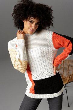 aniston casual trui met staande kraag grijs