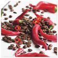 artland artprint verse chili op koffie in vele afmetingen  productsoorten -artprint op linnen, poster, muursticker - wandfolie ook geschikt voor de badkamer (1 stuk) rood