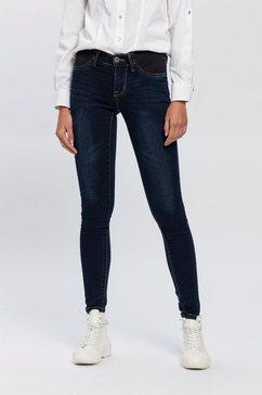 arizona skinny fit jeans ultra stretch low waist met stretchinzetten opzij bij de band blauw