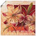 artland artprint klassieke bloemen iii in vele afmetingen  productsoorten -artprint op linnen, poster, muursticker - wandfolie ook geschikt voor de badkamer (1 stuk) rood