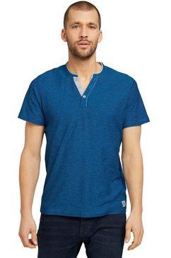 tom tailor henleyshirt met layer-look bij de kraag blauw