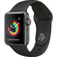 apple watch series 3 gps, aluminium kast met sportbandje 38 mm inclusief oplaadstation (magnetische oplaadkabel) zwart
