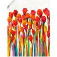 artland artprint stromen met kleuren i in vele afmetingen  productsoorten - artprint van aluminium - artprint voor buiten, artprint op linnen, poster, muursticker - wandfolie ook geschikt voor de badkamer (1 stuk) rood