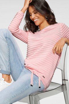 laura scott trui met ronde hals met glinsterstrepen-details roze