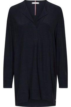 tommy hilfiger blouse zonder sluiting viscose longline tunic ls blauw