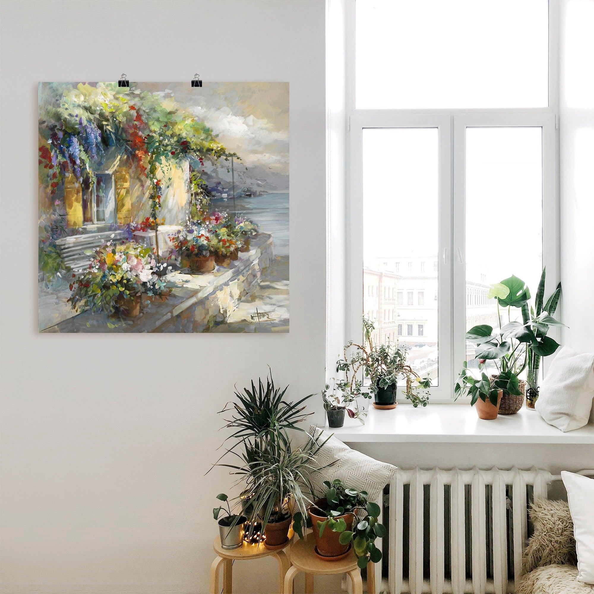 Artland artprint Veranda aan het meer in vele afmetingen & productsoorten -artprint op linnen, poster, muursticker / wandfolie ook geschikt voor de badkamer (1 stuk) - verschillende betaalmethodes
