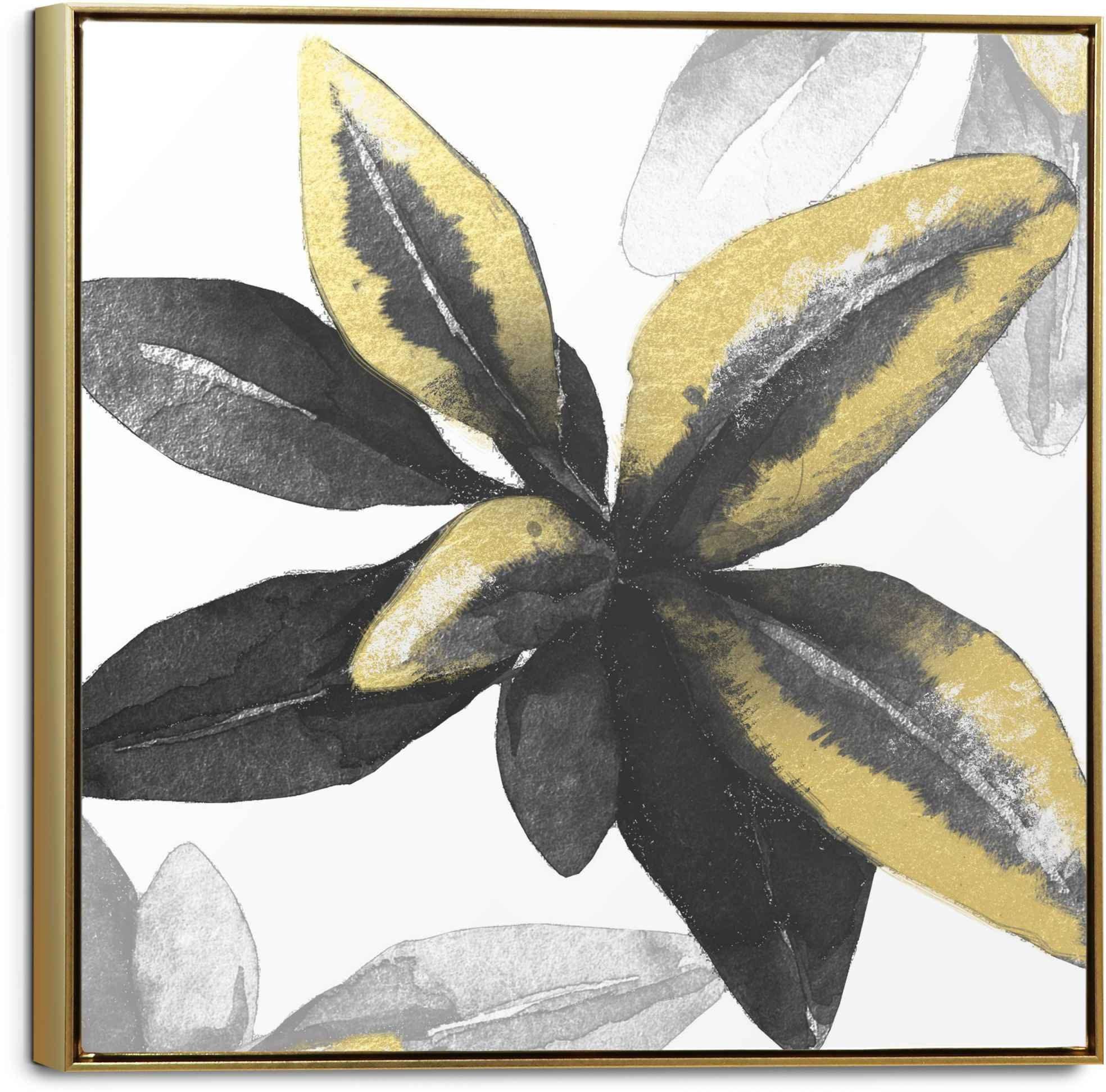 Reinders! artprint op linnen Leinwandbild Goldenes Blatt Blumen - Glamourös - Pflanzen (1 stuk) voordelig en veilig online kopen