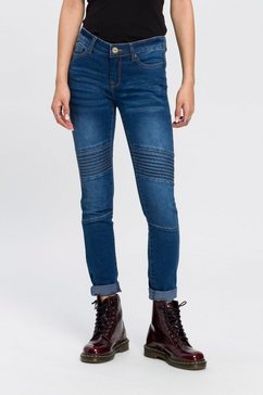 arizona skinny fit jeans in biker-look low waist blauw