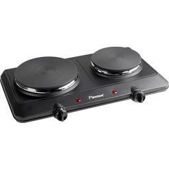 bestron 2-pits kookplaat ahp250, gietijzer zwart