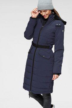 alpenblitz doorgestikte jas oslo long hoogwaardige doorgestikte mantel met merkstempel op de elastische riem en afneembare knuffelzachte capuchon blauw