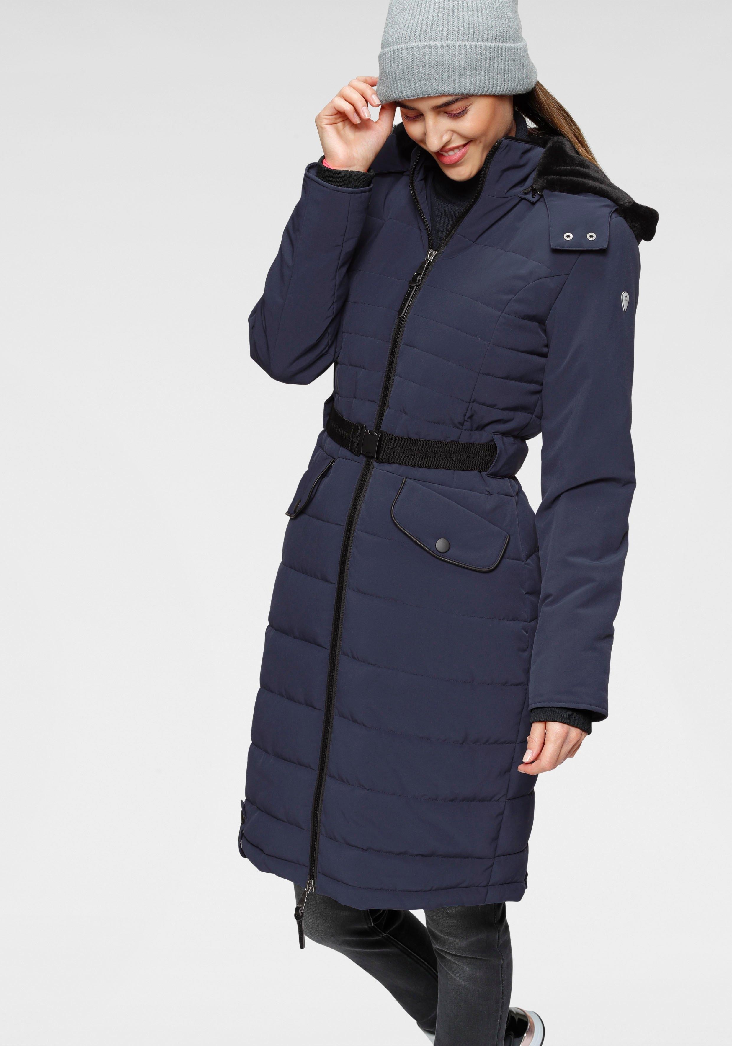 ALPENBLITZ doorgestikte jas Oslo long hoogwaardige doorgestikte mantel met merkstempel op de elastische riem en afneembare knuffelzachte capuchon - gratis ruilen op otto.nl