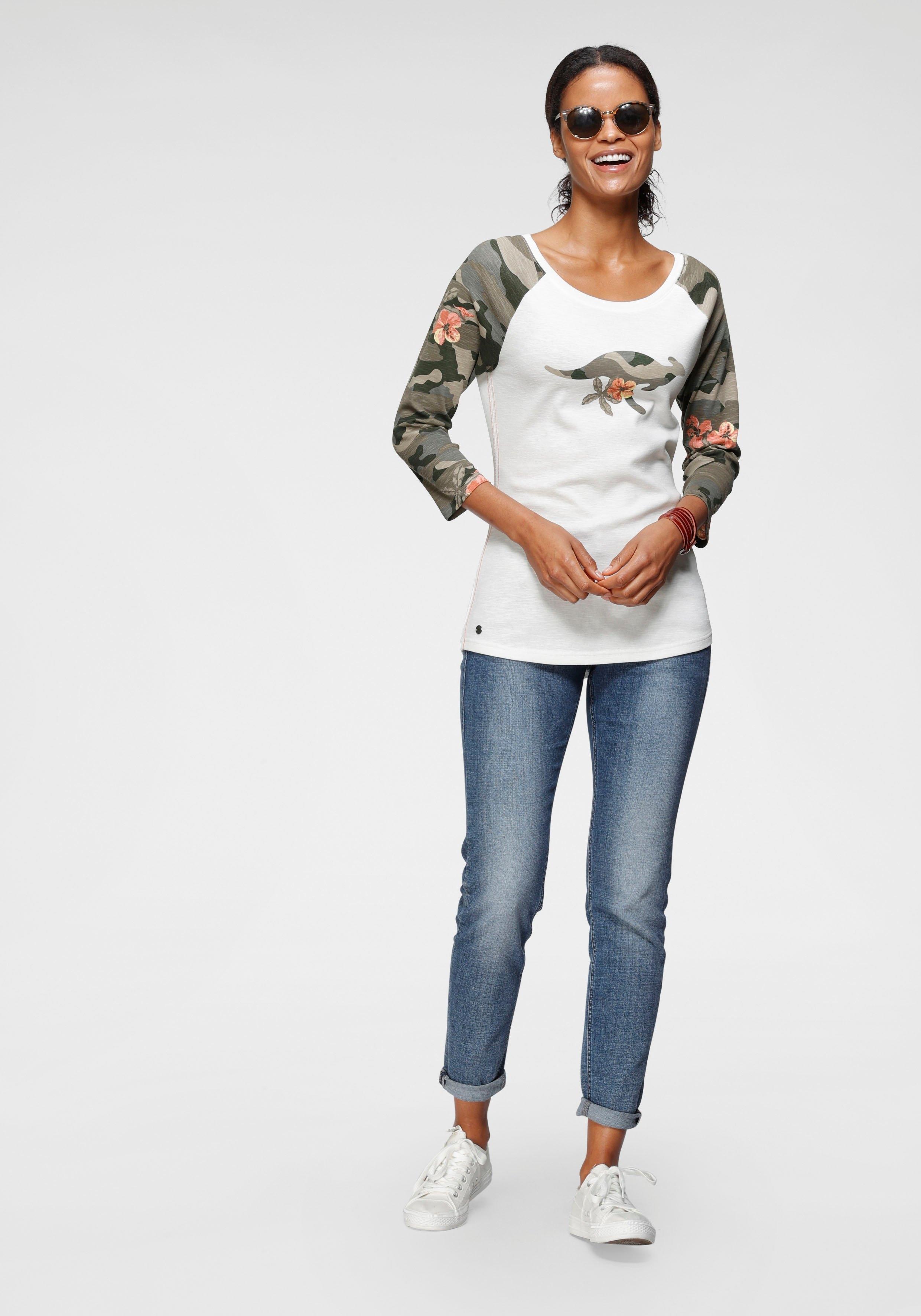 KangaROOS shirt met 3/4-mouwen met camouflagekleurige mouwen en frontprint bij OTTO online kopen