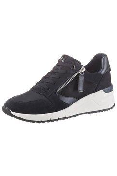 tamaris sneakers met sleehak rea in trendy materialenmix blauw