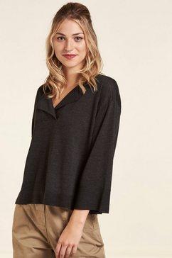 nile gebreide trui van duurzame wol, kort model grijs