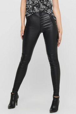 only imitatieleren broek onlroyal hw coated button pant zwart