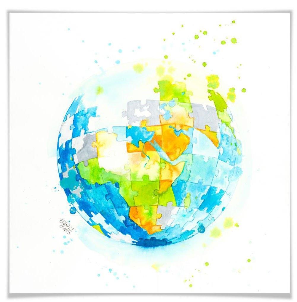 Wall-Art poster Worldpuzzle Poster, artprint, wandposter (1 stuk) veilig op otto.nl kopen