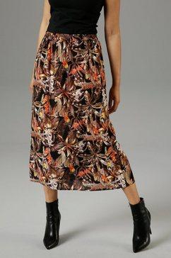 aniston selected geweven rok met papegaaien, luipaarden en bloemen - nieuwe collectie multicolor