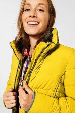 cecil gewatteerde jas met imitatiebont in de kraag geel