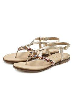 lascana teenslippers sandalen van leer met glitter goud
