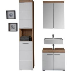 trendteam badkamerserie amanda met spiegelkast, hoge kast en wastafelonderkast, planken achter de deuren, mdf-fronten in hoogglans- of hout-look (set, 3 stuks) wit