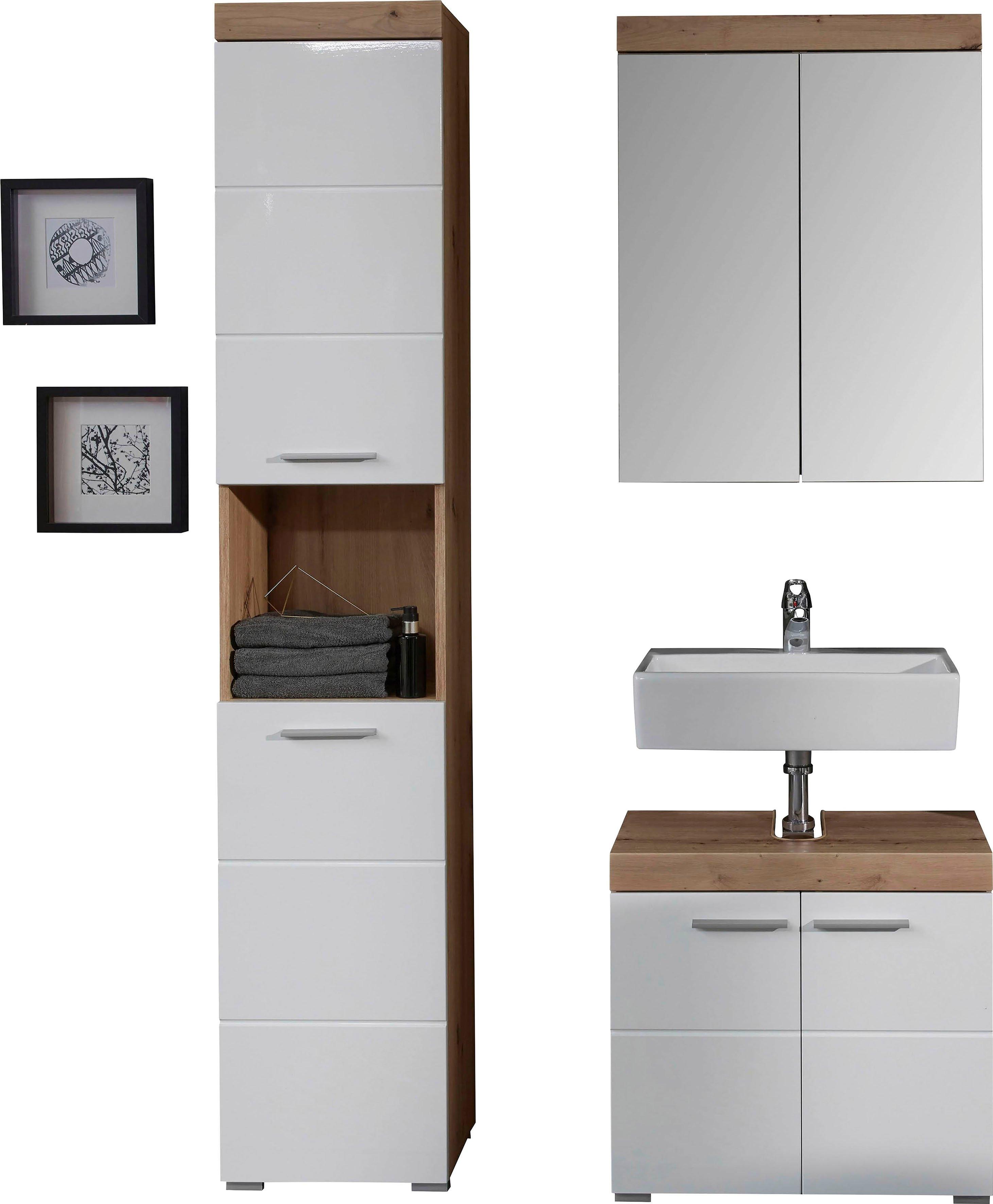 trendteam badkamerserie Amanda met spiegelkast, hoge kast en wastafelonderkast, planken achter de deuren, mdf-fronten in hoogglans- of hout-look (set, 3 stuks) veilig op otto.nl kopen