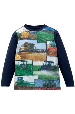 kidsworld shirt met lange mouwen print met landbouwmachines blauw