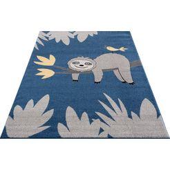 luettenhuett vloerkleed voor de kinderkamer »faultier«, luettenhuett, rechthoekig, hoogte 14 mm, machinaal geweven blauw