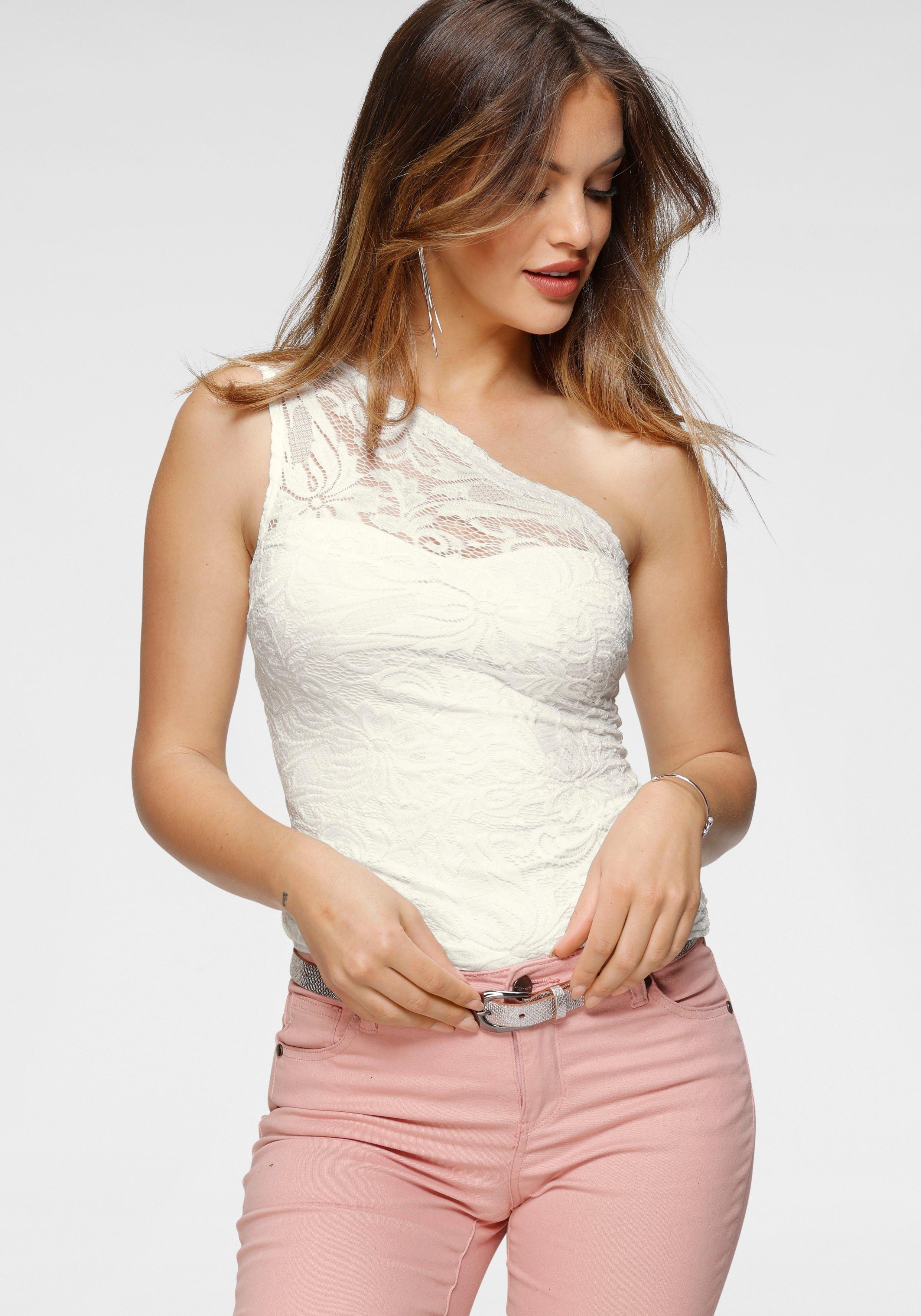 Melrose One-shoulder top van elastische kant nu online kopen bij OTTO