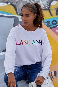 lascana sweatshirt met logoborduursel wit