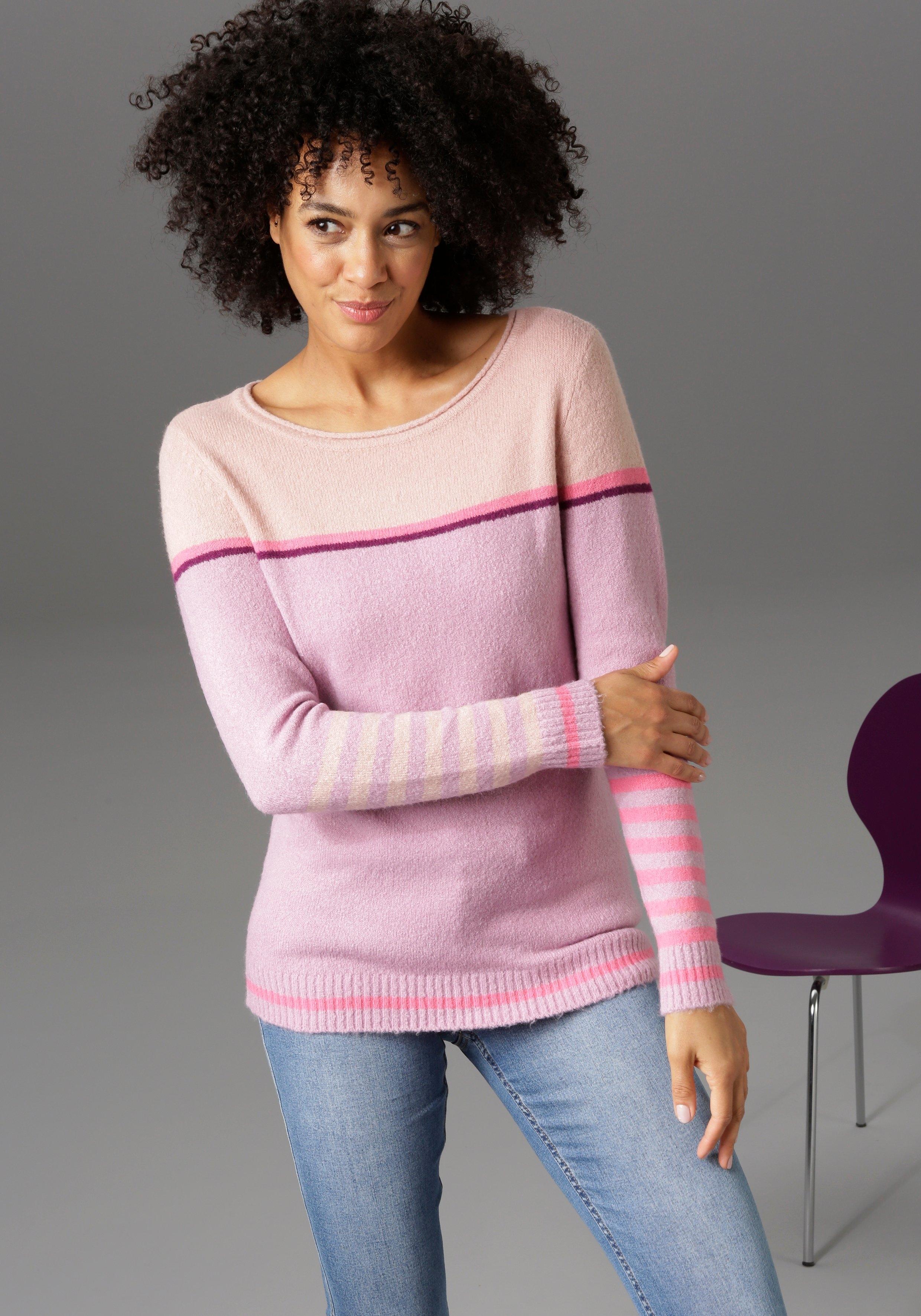 Op zoek naar een Aniston CASUAL trui met ronde hals met gestreepte mouwen, nieuwe collectie? Koop online bij OTTO